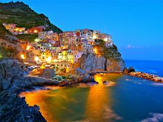 After sunset in Manarola, Cinque Terre. by CelineNYC, via Flickr