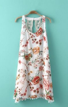 Super Cute Beach Dress! Love the back Detailing! O-neck Sleeveless Hollow-out Lace Open Back Chiffon Floral Beach Dress #Cute #Floral #Beach #Fashion