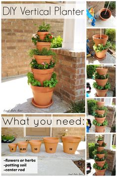DIY Vertical Planter- great option for an herb garden if low on space! This DIY Vertical Planter is the perfect garden option for those with limited space. Grow your own herbs or flowers in this easy to maintain vertical planter. Vertical Planter, Vertical Gardens, Small Gardens, Tiered Planter, Tiered Garden, Garden Web, Garden Pots, Tower Garden, Plant Tower