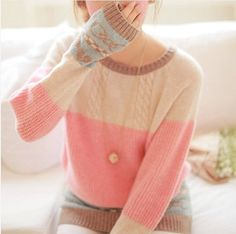 2014 women's all-match thermal pullover heart pattern patchwork loose knitted sweater free shipping