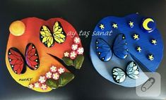 Table paints winged with butterflies Pour Painting, Stone Painting, Diy And Crafts, Arts And Crafts, Hobbies And Interests, Acrylic Pouring, Stone Art, Rock Art, Painted Rocks