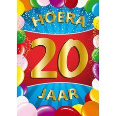 20 jaar mega deurposter in A1 formaat. Grote deurposter 20 jaar met de tekst: Hoera 20 jaar. A1 formaat: ongeveer 59 x 84 cm.