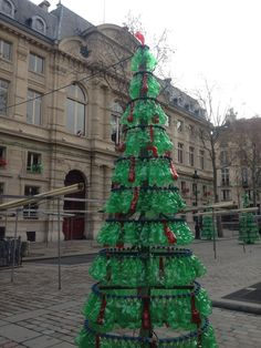 The recycled christmas tree - Paris. These amazing trees were made of green and red plastic bottles!