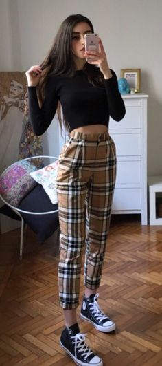 Long sleeves black top with plaid pants & Vans shoes by mari_malibu - #grunge #fashion #alternative