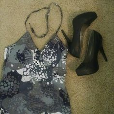 Halter top dress *NWT* Never worn black, white and gray floral halter top dress from H&M. H&M Dresses