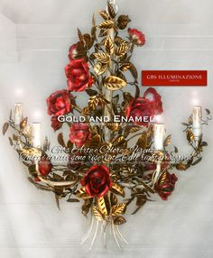 """Romantic Gold and EnamelChandelier with roses  Hand-decorated wrought iron Chandelier. Gold leaf with patina, antique rose enamel. Made in Florence: GBS is the only """"Made in Italy"""" which can be said to be such, because the Made in Italy tag should classify a production line that is truly and exclusively Italian, from design to implementation. GBS does not import its products, it manufactures them entirely in Florence."""