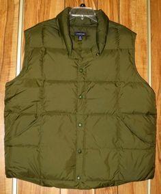 Men's Land's End Wool Goosedown Wild Moss Heather Snap Front Vest Size XL
