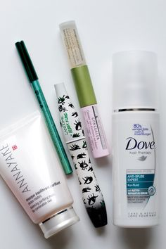 Beauty check! Dove (anti spliss expert), Annayake (mask), Alverde (concealer), Lancome (mascara), p2 (eye liner) - For the whole review visit http://www.miss-annie.de/?p=314