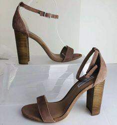 4ae736ac0bb Steve Madden Carrson Beige Brown Leather Women Open Toe Block Heel Shoes Sz  9.5