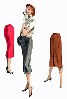 Butterick 7528 1955 slim skirts with front and back pleats for ease of walking.