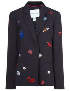 Icon patched blazer in Navy | Mira Mikati | Avenue32