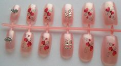 12pc Valentines Day Hearts Pink Fake Nails Fales by EasyNailTrends