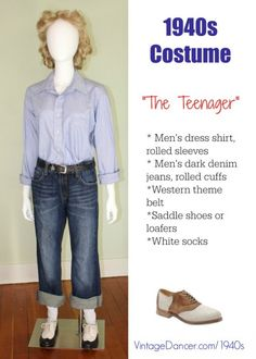 1940s costume idea: The tteenager rebel girl in men's clothing is also a look for 2015. My oh my how fashions repeat. At vintagedancer com