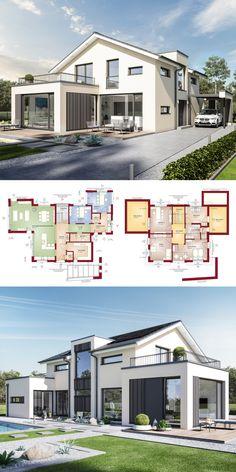 Schon Design Haus Modern Mit Satteldach Architektur, Galerie U0026 Büro Anbau   Einfamilienhaus  Bauen Grundriss Fertighaus Concept M 211 Bien Zenker Hau2026