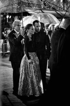 Natalie Portman with Benjamin Millepied Natalie Portman with Benjamin Millepied on a rainy night in London