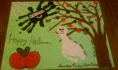 Finger print leaves on tree and pumpkin. Hand print spider. Foot print ghost. Halloween painting.