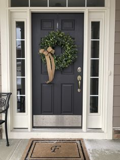 Greenery Wreath Spring Summer Wreath for Front Door Year Round Wreath Rustic Farmhouse Style Wreath Burlap Bow - rustic farmhouse front door Front Door Porch, Front Porch Design, Front Door Entrance, House Front Door, House With Porch, Front Door Decor, Wreaths For Front Door, Entry Doors, Barn Doors
