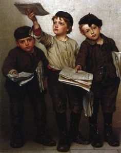 Morning Papers, Oil On Canvas by John George Brown (1831-1913, England)