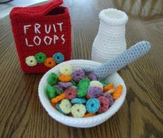 Crochet Fruit Loops Breakfast Set, Made to Order