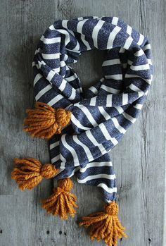 Don't let the Cheerleaders have all the fun.  Game Day Scarf - Go Blue and Gold  Northernly on Etsy, $36.00