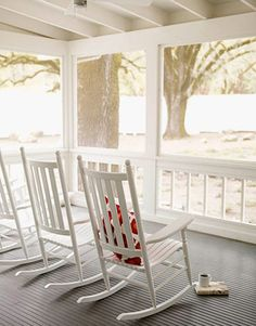 Rocking chairs from L.L. Bean.   - HouseBeautiful.com
