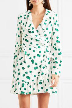 Miu Miu | Ruffled printed georgette wrap mini dress | NET-A-PORTER.COM