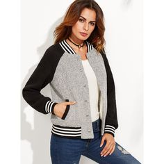 Grey Contrast Raglan Sleeve Striped Trim Tweed Bomber Jacket (60 AUD) ❤ liked on Polyvore featuring outerwear, jackets, grey, tweed jacket, gray bomber jacket, blouson jacket, gray jacket and gray tweed jacket