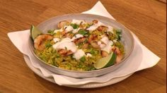 Spicy sprout rice with griddled prawns