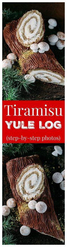 There's nothing more impressive than bringing a log to Christmas dinner; a Tiramisu Yule Log Cake that is! Full photo tutorial for tiramisu yule log cake.