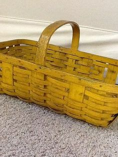RARE ANTIQUE EARLY AMERICAN WOVEN SPLINT GATHERING BASKET ORIGINAL MUSTARD PAINT
