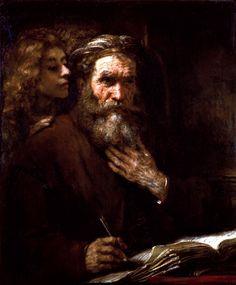 Евангелист Матфей и ангел (1661) (96 х 81). Rembrandt Harmensz van Rijn (1606-1669)