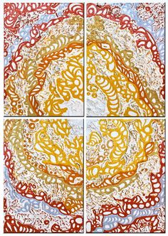 """""""Empireum"""" (1, 2, 3, 4).  Polyptych by Irena Lisiewicz. Inspiration - """"The Divine Comedy"""" (Paradise) by Dante Alighieri.  Original abstract painting - contemporary art.  Medium: acrylic on MDF board.  Dimensions of a module: 12"""" x 8"""" x 1"""""""