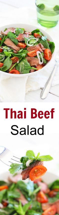 Thai Beef Salad is a tasty salad with beef and greens in a savory dressing. Easy Thai beef salad recipe that everyone can make at home | rasamalaysia.com