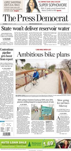 Press Democrat front page from Feb. 1, 2014