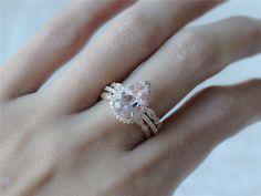 Morganite & Diamond Pear Halo Ring and Two Diamond by InOurStar