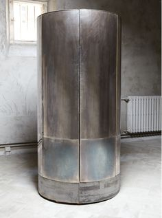 Vincenzo De Cotiis - Self- standing Cylindrical Cabinet, Prototype/Unique Piece, 2012 Silvered oxidized brass and reclycled wood