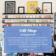 "#GiftShop loves #Tuesdaytips, so we hope you will share images of your ""power wall"" with us. Read more informative and inspirational articles about retail environments on our website."