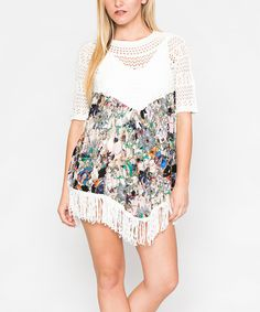 Take a look at this White & Green Abstract Sheer Crochet Shift Dress today!