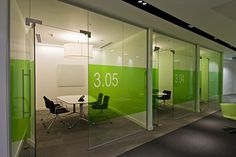 PENNA PLC MEETING ROOMS WITH COLOURED GLASS