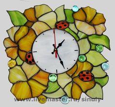 """Часы для дома ручной работы. Ярмарка Мастеров - ручная работа Витражные часы""""Желтый блюз"""". Handmade."""