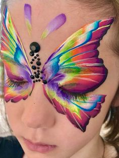 From Natalee Davies One stroke butterfly Girl Face Painting, Face Painting Designs, Body Painting, Painting For Kids, Kids Makeup, Scary Makeup, Butterfly Face Paint, Face Paint Makeup, Cool Face