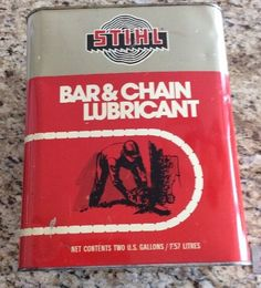Vintage Stihl Chainsaw Bar And Chain Lubricant Oil Can  - Two Gallons  | eBay