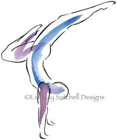 yoga art print -Handstand - Yoga Artwork on Etsy by Lindsay Satchell Designs https://www.etsy.com/listing/193434914/yoga-art-print-handstand-yoga-artwork