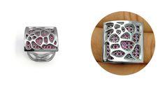 NURIA PARRADO SARANDESES. Colección de anillos intercambiables ALMA GEMS. Modelo NATURA. Oro blanco + circonitas rojas. Acabado brillante.