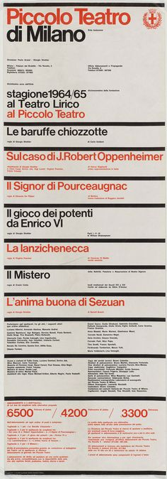 Poster and graphic programme for Milan's Piccolo Teatro, 1964 and 1965   Designed by Massimo Vignelli