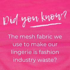 It's true - all four colours of the mesh fabric we use is reclaimed fast fashion industry waste.   Saving from a painful and dirty death in landfill or by incineration and making it into beautiful high-quality lingerie for you to love and keep   Thank you for choosing to shop sustainably! Lingerie Instagram, Quality Lingerie, Mesh Fabric, Fast Fashion, Industrial Style, Instagram Feed, Death, Colours, Shop