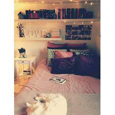 Delícia de quarto com pisca-pisca e alguém muito fofo se aproveitando da cama  Boa noite gente, bom fim de domingo  ~ via Pinterest #quartoscaed