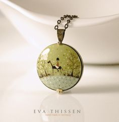 THE WANDERER hand painted polymer clay pendant. Antiqued brass necklace. by Eva Thissen Gallery, via Flickr