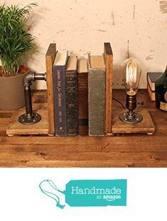 Unique Bookend lamp-Unique table lamp-Steampunk table lamp-Vintage style lamp…