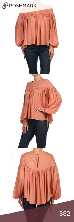 Draping Blouse Top Feminine long sleeve shirred blouse crafted from an unlined woven with button closure on back with faux ties on sleeves. Color - Blush Dance and Marvel Tops Blouses
